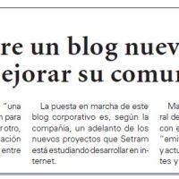 Repercusión del nuevo Blog corporativo de SETRAM en los medios de comunicación