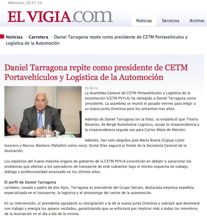 Daniel Tarragona renueva presidencia CETM Portavehículos