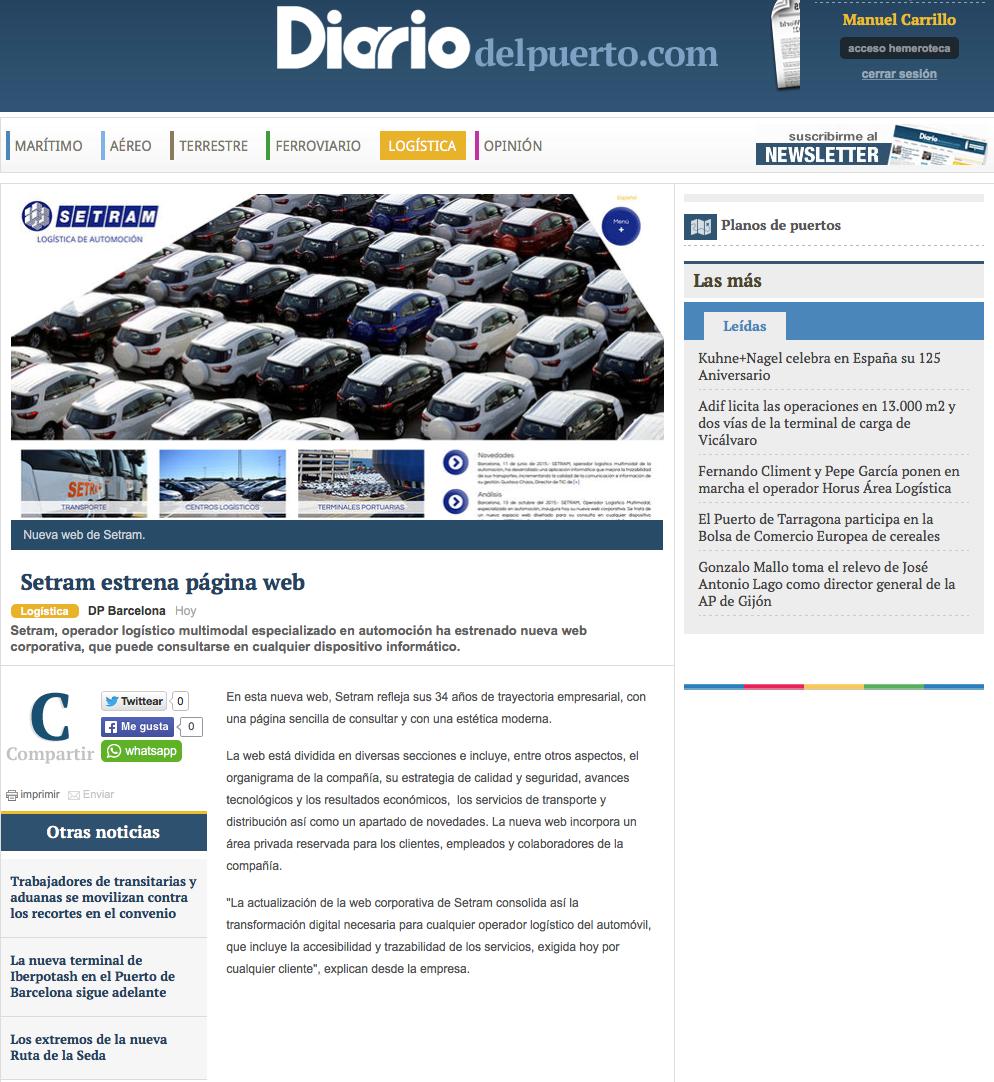 Noticia SETRAM en Diario del Puerto