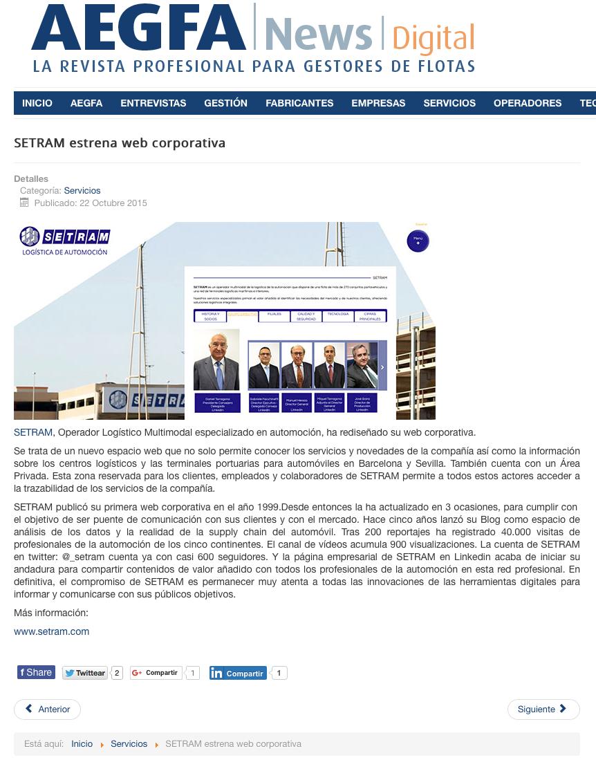Noticia SETRAM en Revista Profesional para Gestores de Flotas