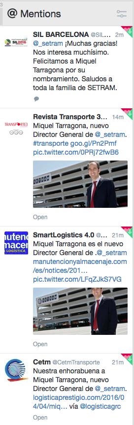 Miquel Tarragona Director General SETRAM en Twitter