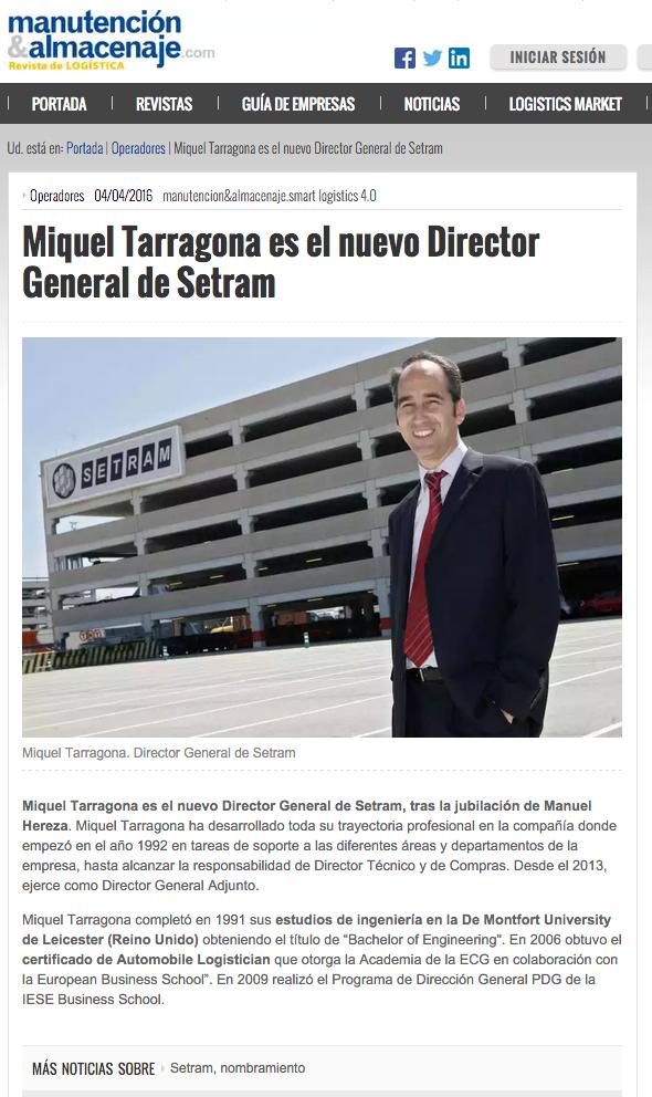 Miquel Tarragona Director General SETRAM en Manutención y Almacenaje