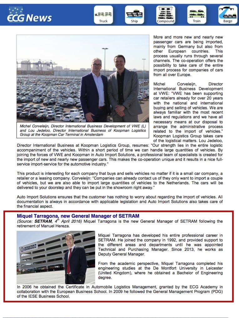 Noticia Miquel Tarragona en Newsletter ECG News Abril 2016