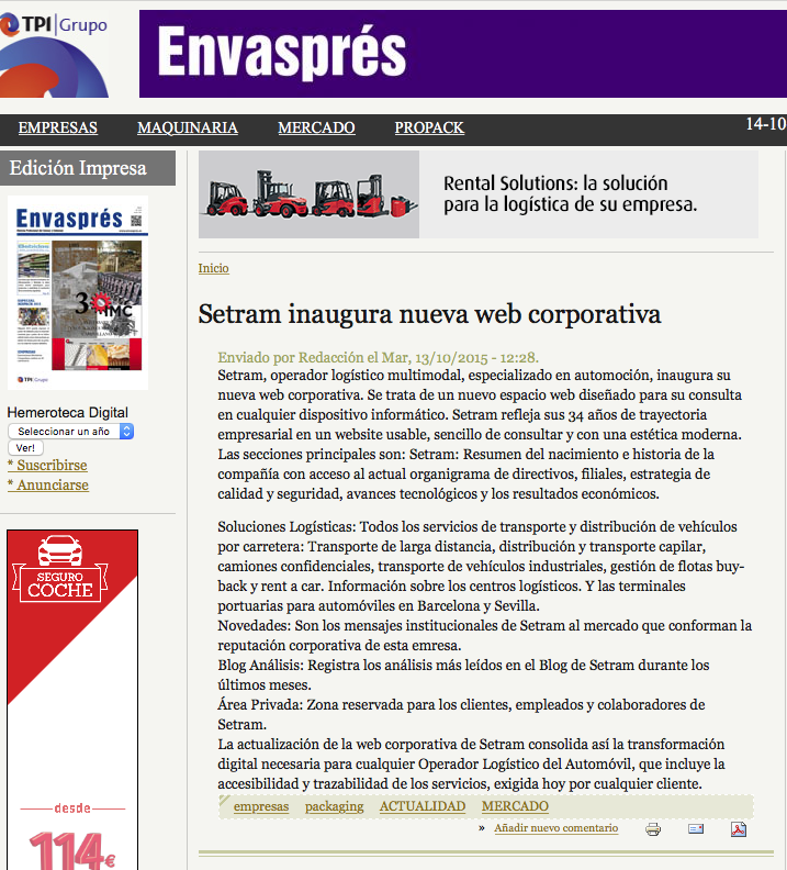 Noticia SETRAM en Envaspress