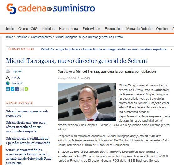Miquel Tarragona Director General SETRAM en cadenadesuministro
