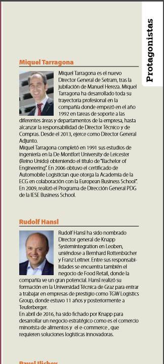 Miquel Tarragona en Revista Manutención y Almacenaje