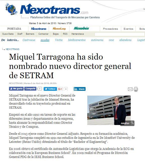 Miquel Tarragona Director General SETRAM en Nexotrans