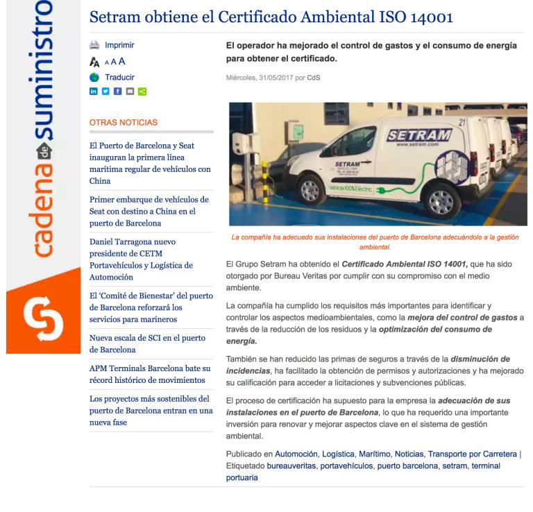 SETRAM Noticia cadenasuministro