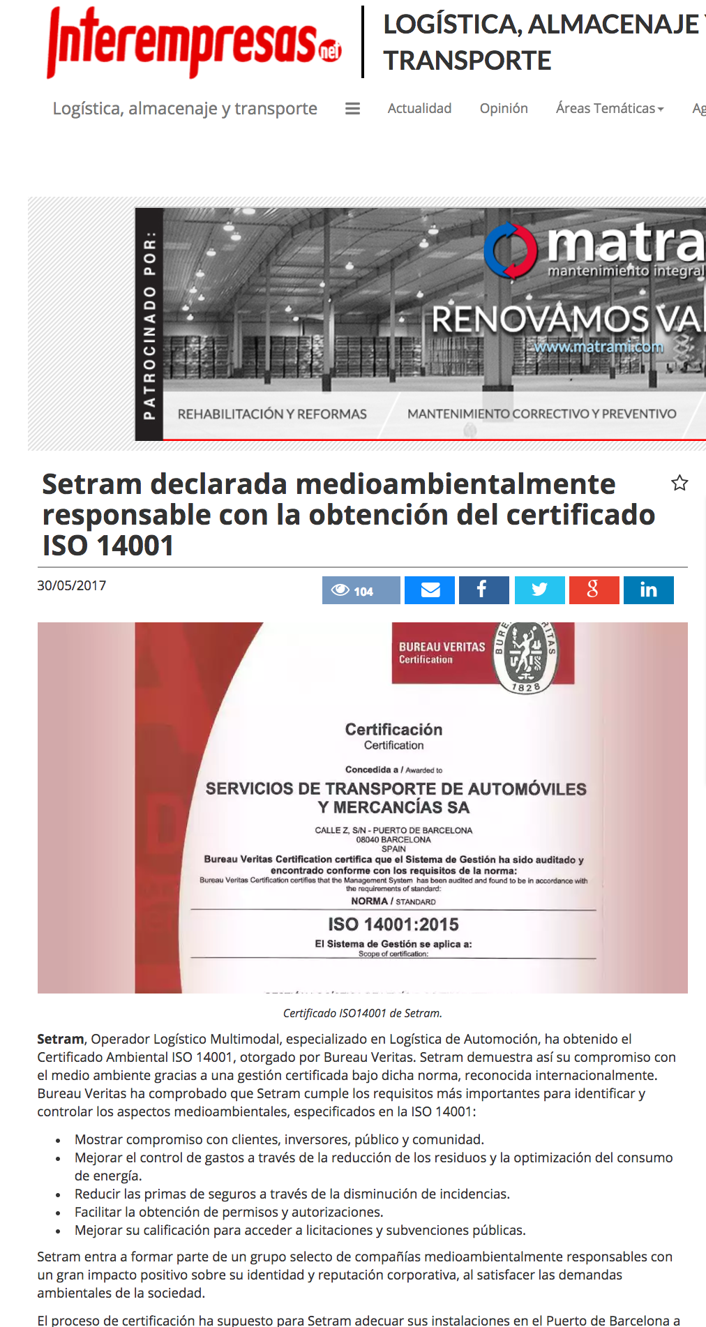 SETRAM Noticia en Interempresas