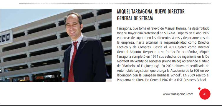 Miquel Tarragona Noticia en Revista Transporte 3