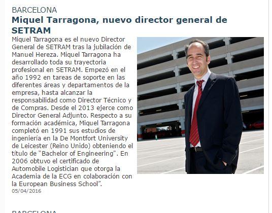 Miquel Tarragona Director General SETRAM en veintepies
