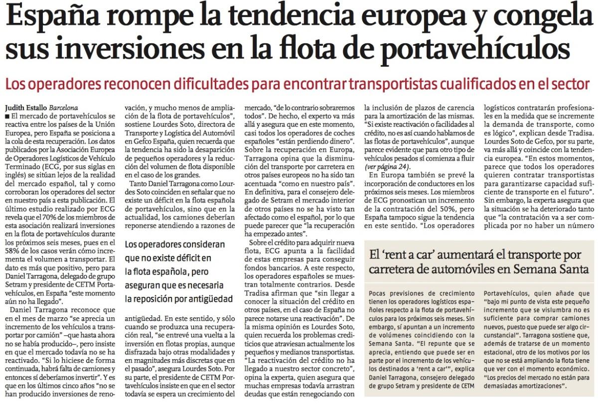 Declaraciones de Daniel Tarragona, Presidente del Grupo SETRAM, al Vigía sobre la coyuntura del sector portavehículos