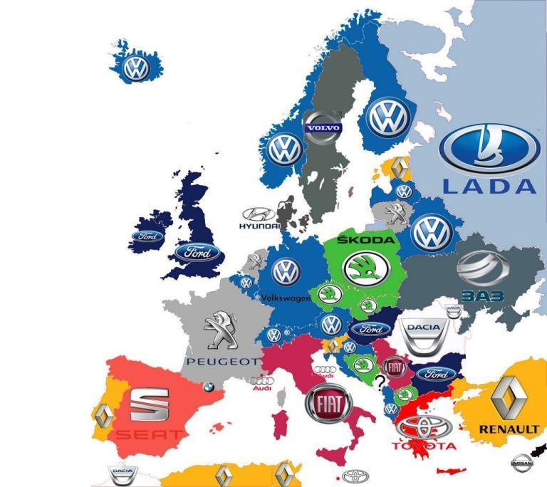 la marca más vendida en cada país europeo