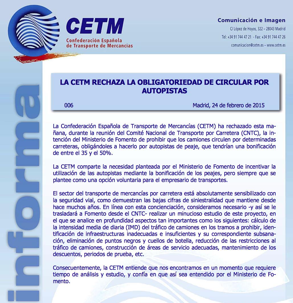 CETM rechaza obligatoriedad conducir por autopistas de peaje.
