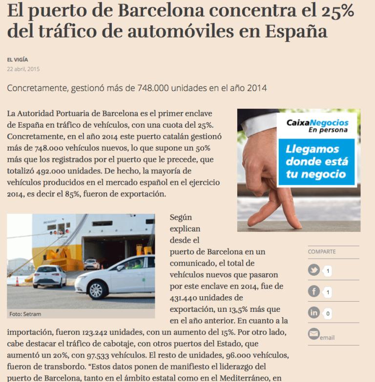 Tráfico Vehículos Puerto Barcelona Foto Terminal SETRAM