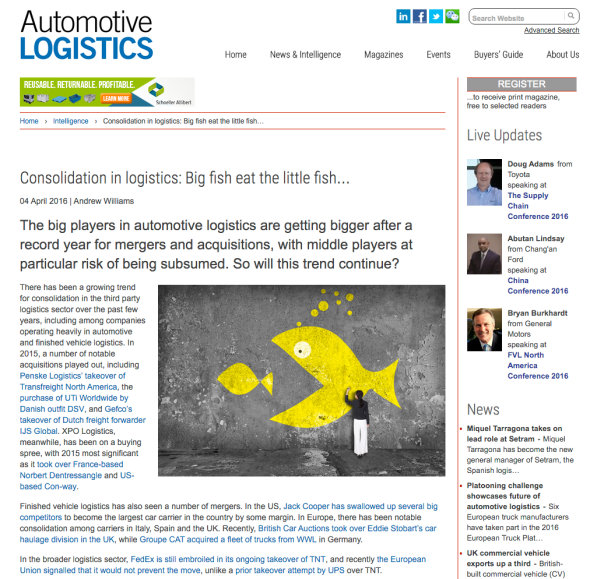 Consolidation in logistics Automotive Logistics