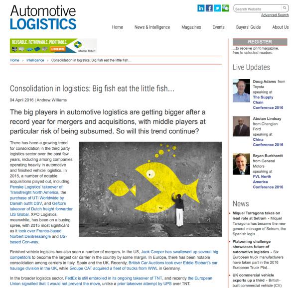 Consolidation in logistics Automotive Logistics