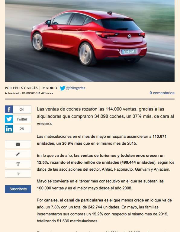 ventas coches en mayo 2016 turismos ANFAC