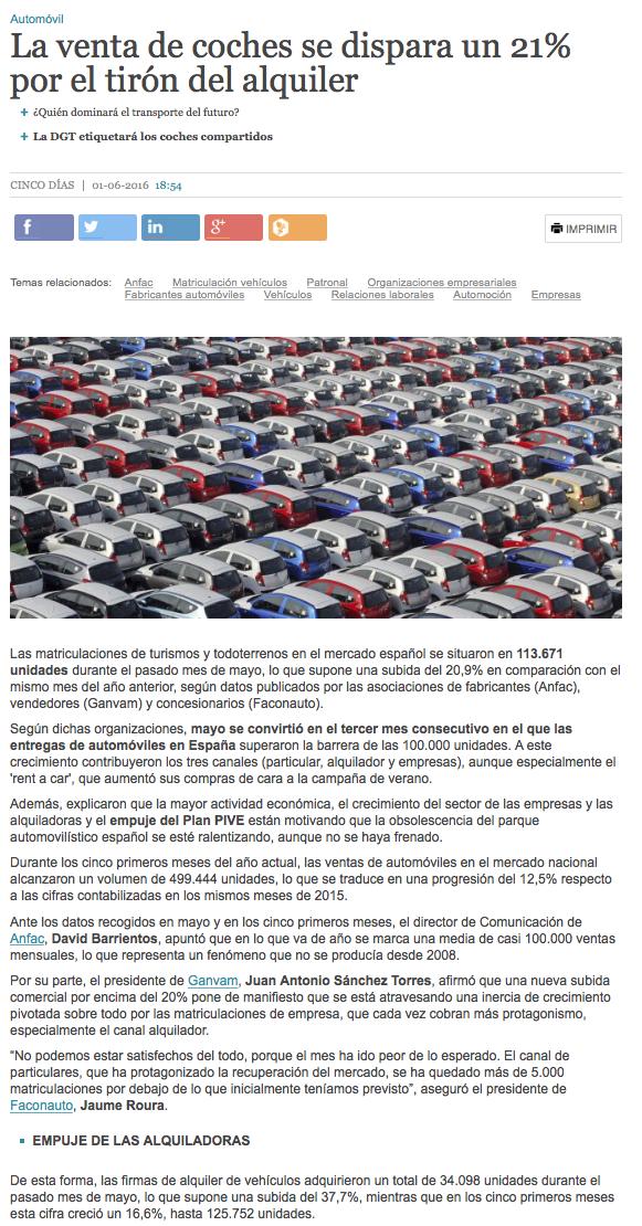 ventas turismos coches automóviles mayo 2016 21% más