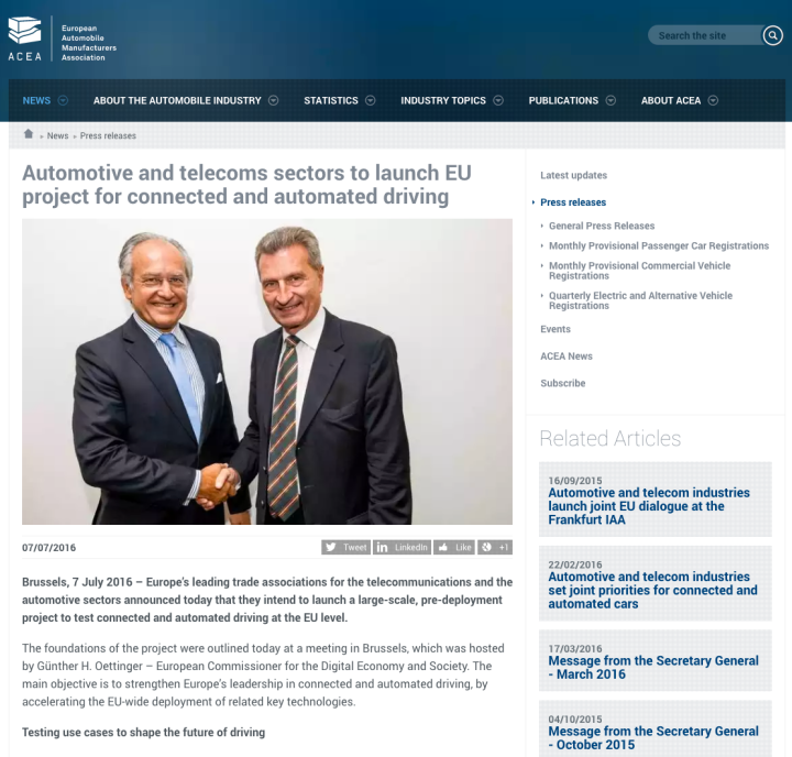 Automotive and telecoms sectors to launch EU project for connected and automated driving