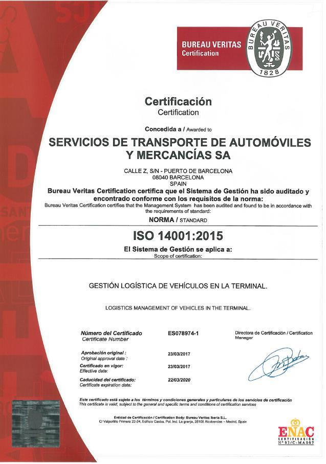 Certif.ISO14001-SETRAM